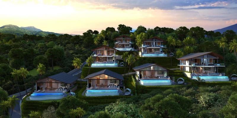 Photo Villas de luxe neuves avec piscine avec vue imprenable sur la mer à vendre à Kamala, Phuket